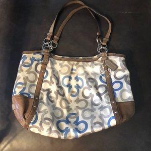 COACH fabric/leather bag, cream/taupe/gray/blue